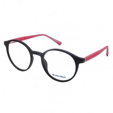 Brillengestell Damen schwarz/pink rund 4533-2