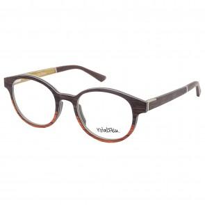 Kobelfein Holzbrille Las Vegas 4004-2 orange braun rund mit Sehstärke